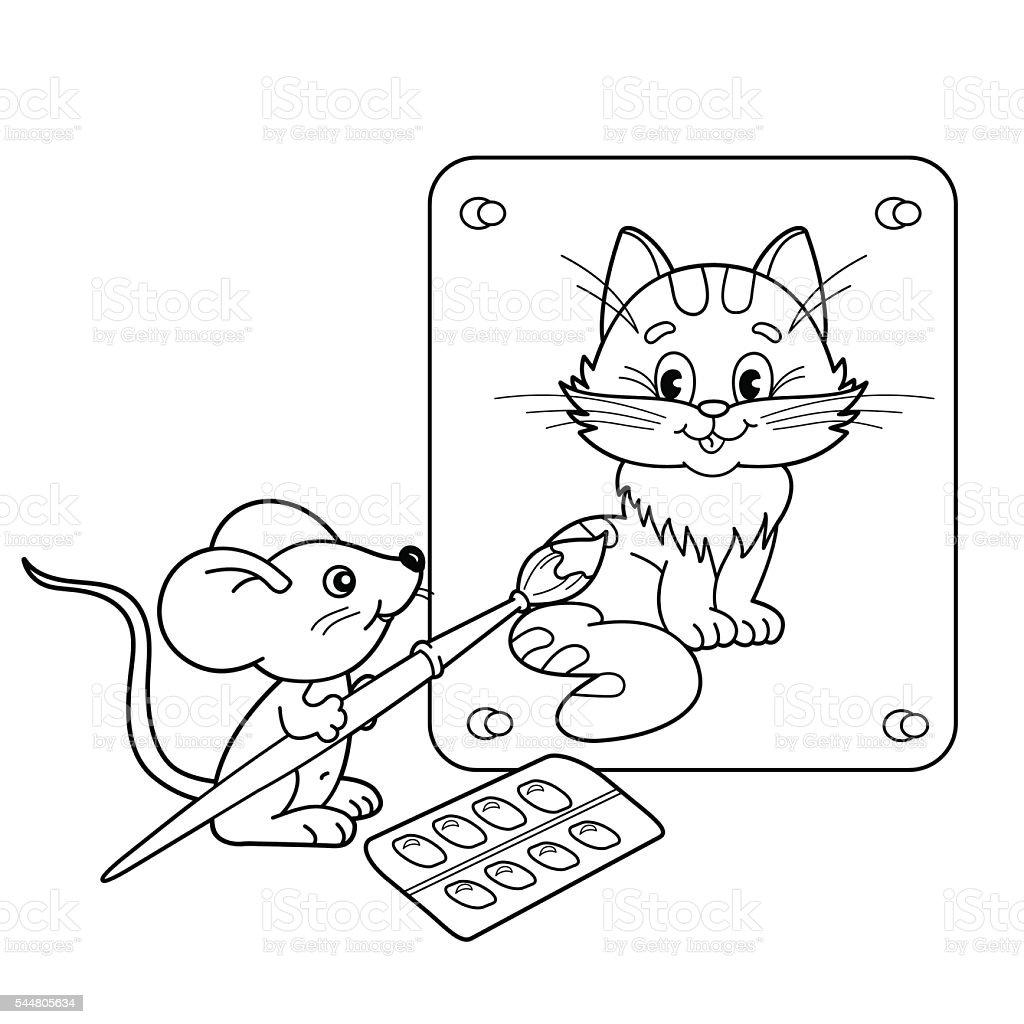 Maus Mit Bild Von Katze Mit Pinsel Und Farben Stock Vektor Art und ...