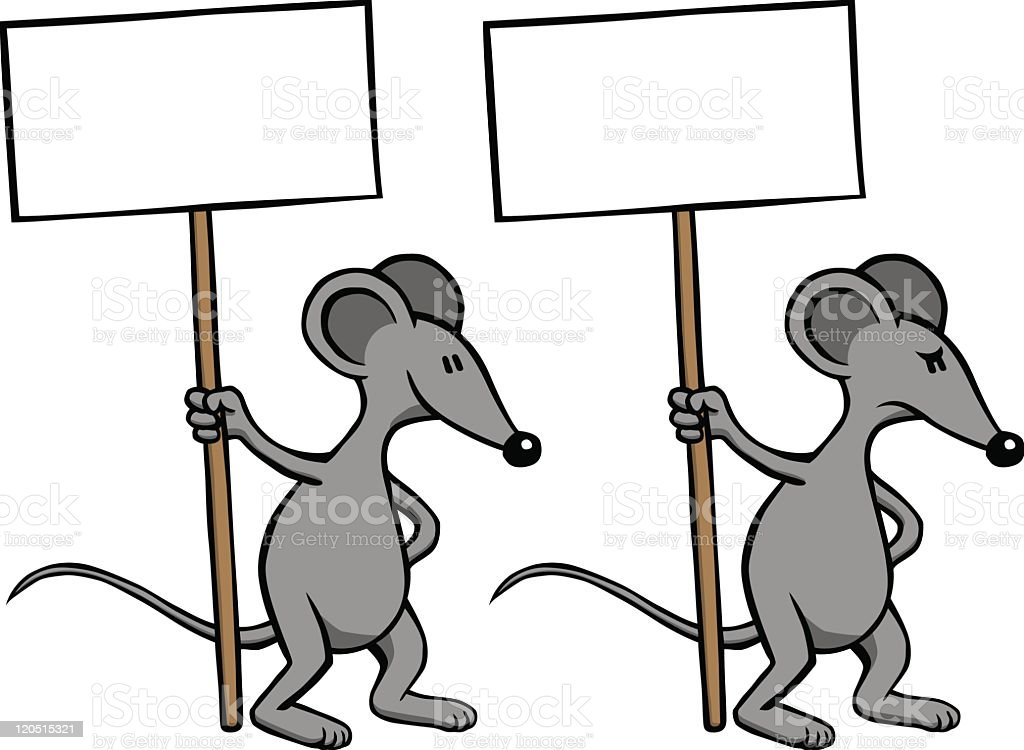 Mouse with sign - happy and angry vector art illustration