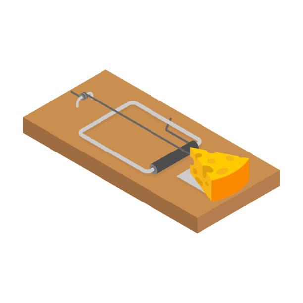 illustrazioni stock, clip art, cartoni animati e icone di tendenza di mousetrap and cheese isolated. mouse trap. rodent snare. vector illustration - trappola per topi