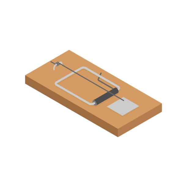 illustrazioni stock, clip art, cartoni animati e icone di tendenza di mousetrap isolated. mouse trap. rodent snare. vector illustration - trappola per topi
