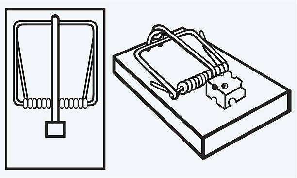 illustrazioni stock, clip art, cartoni animati e icone di tendenza di trappola per topi con formaggio - trappola per topi