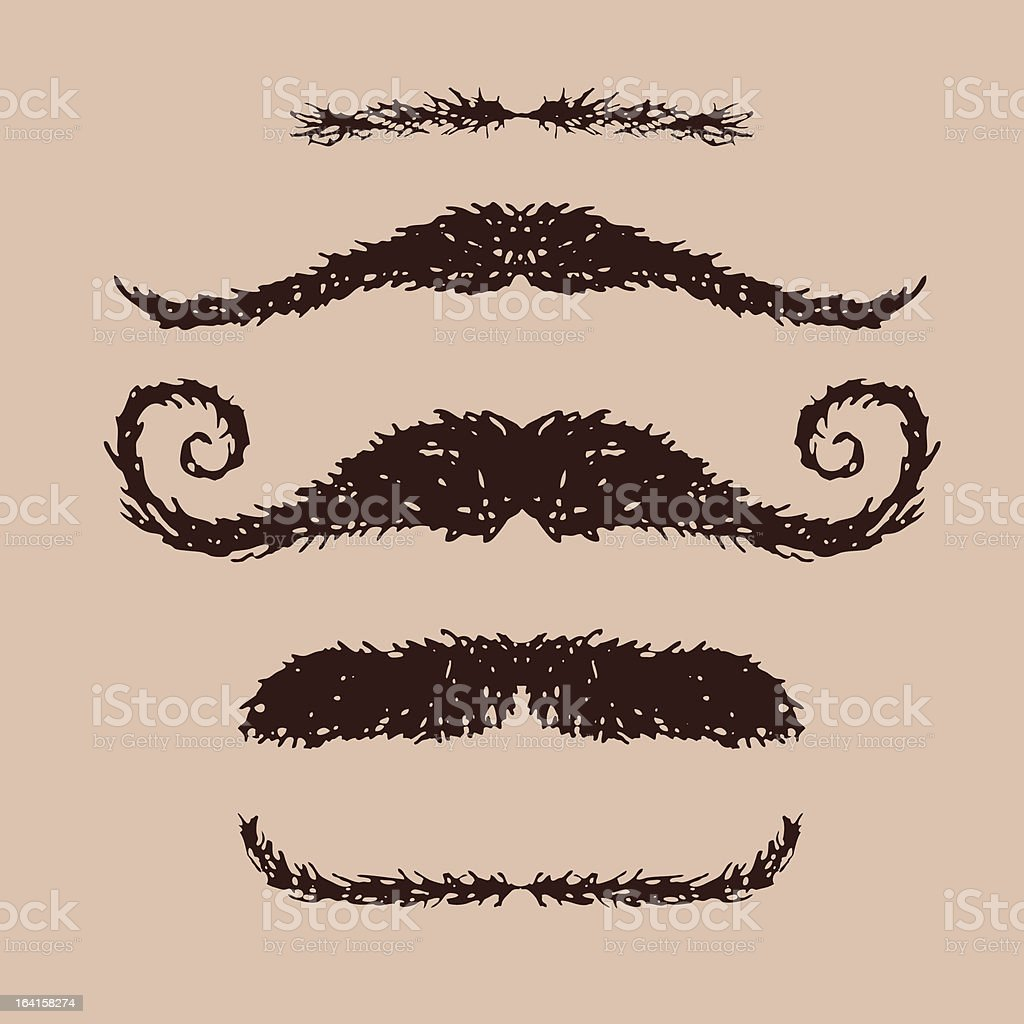 Moustache doodles royalty-free stock vector art