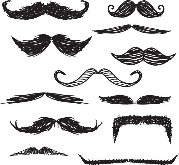 ilustrações, clipart, desenhos animados e ícones de bigode e rabiscos - bigode