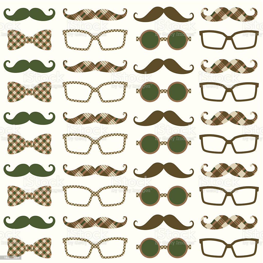 Moustache Hipster Pattern royalty-free stock vector art