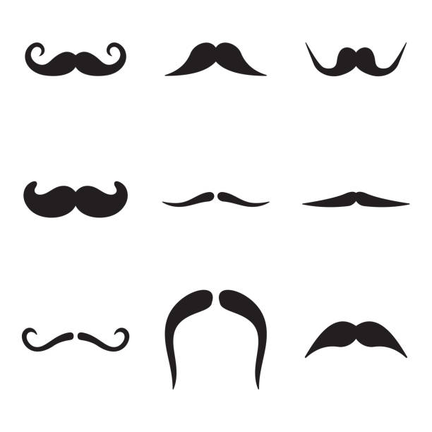 moustache icons - old man mask stock illustrations