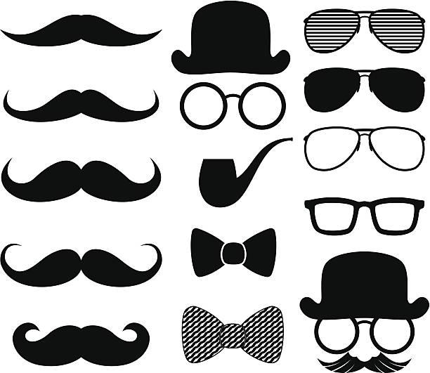 ilustrações, clipart, desenhos animados e ícones de moustaches silhuetas - bigode