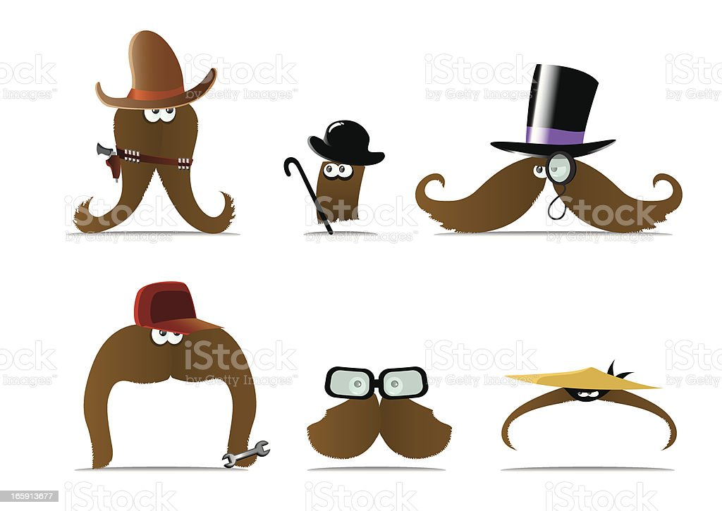 Moustaches with personality vector art illustration