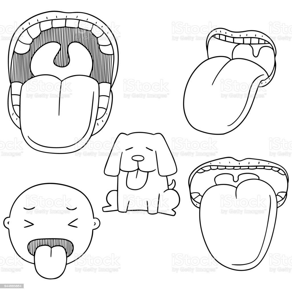 mouth and tongue vector art illustration