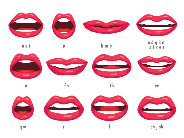 ilustrações de stock, clip art, desenhos animados e ícones de mouth animation. lip sync animated phonemes for cartoon woman character. mouths with red lips speaking animations vector set - mouth