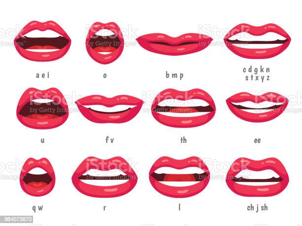 Mouth Animation Lip Sync Animated Phonemes For Cartoon Woman Character Mouths With Red Lips Speaking Animations Vector Set Stock Illustration - Download Image Now