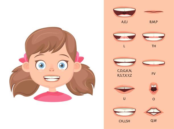 stockillustraties, clipart, cartoons en iconen met mond animatie - alleen één meisje