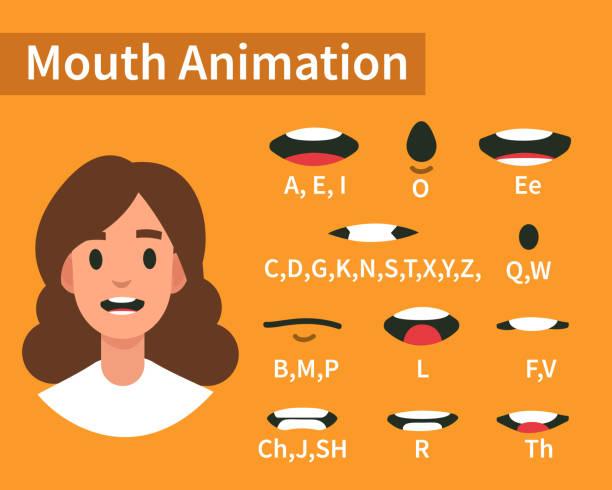 mouth animation - język otwór gębowy stock illustrations