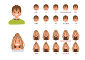 Lip sync collection for animation. Man and woman talking. Flat style vector illustration.