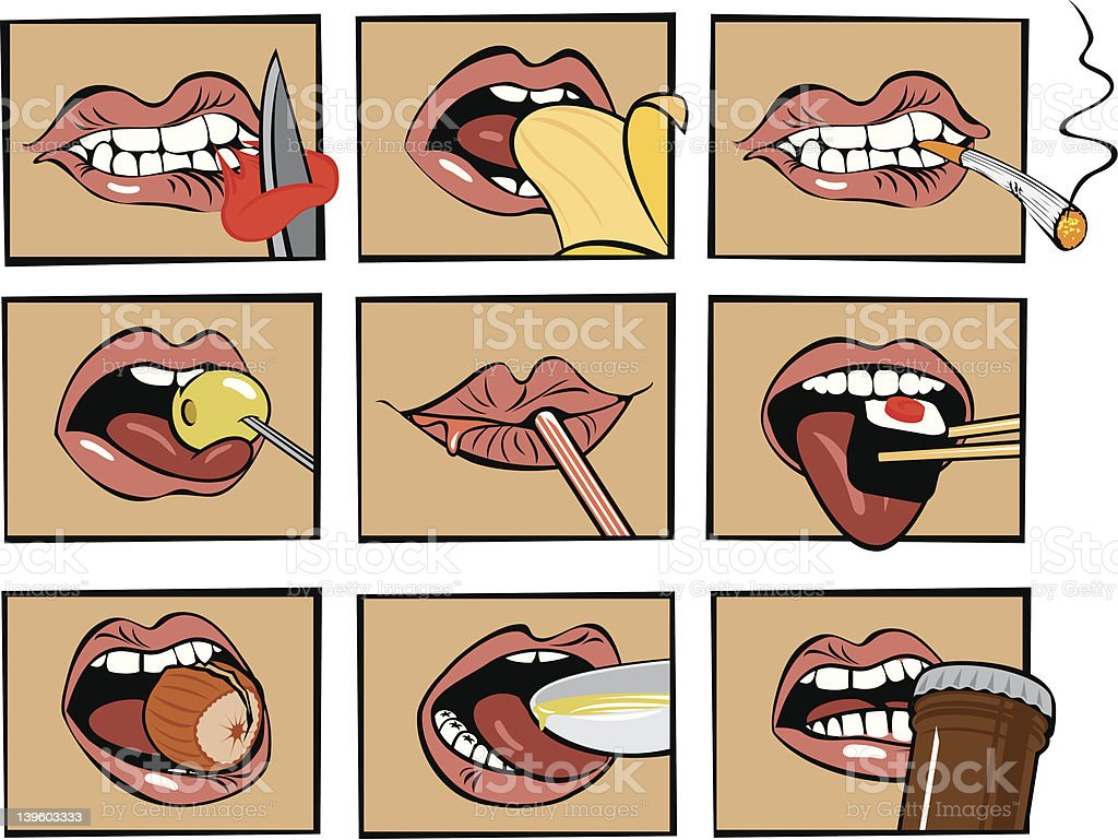 mouth eats vector art illustration