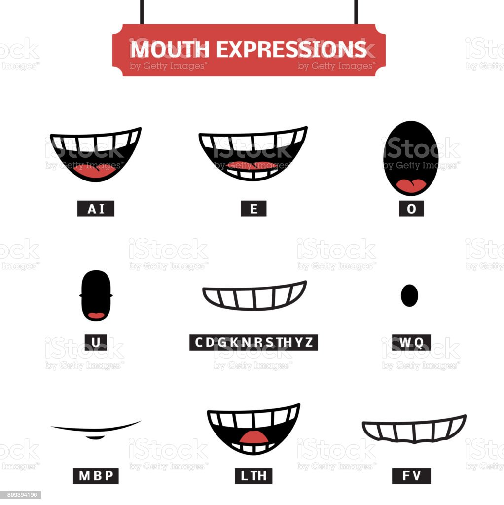 Mouth expressions vector set