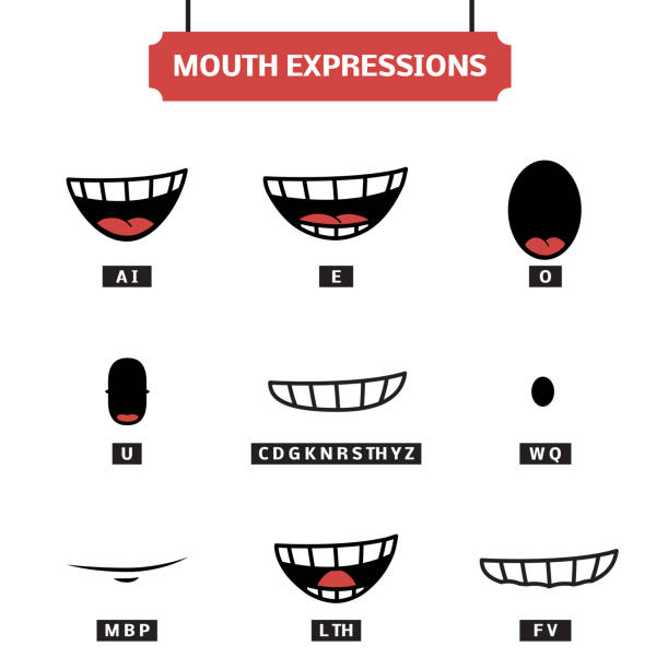 mouth expressions vector set - otwór gębowy stock illustrations