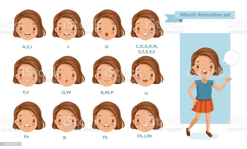 Mouth Girl Animation vector art illustration