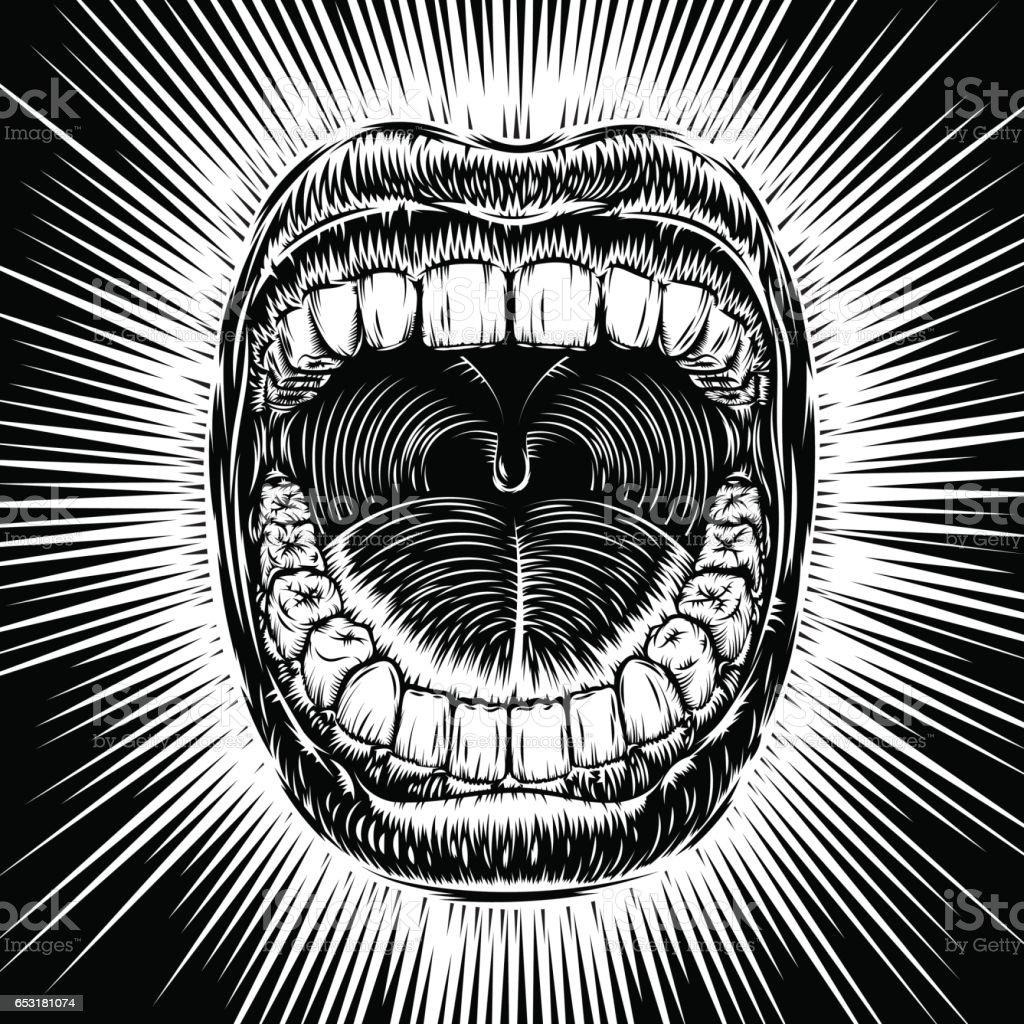 Mouth Open Scream Ink Hand Draw Vintage Tattoo Print Beam vector art illustration