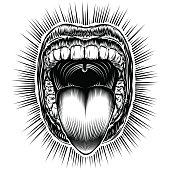 Mouth Open Tongue Scream Vintage Ink Hand Drawing Monochrome