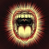 Mouth Open Tongue Scream Vintage Ink Hand Drawing Red