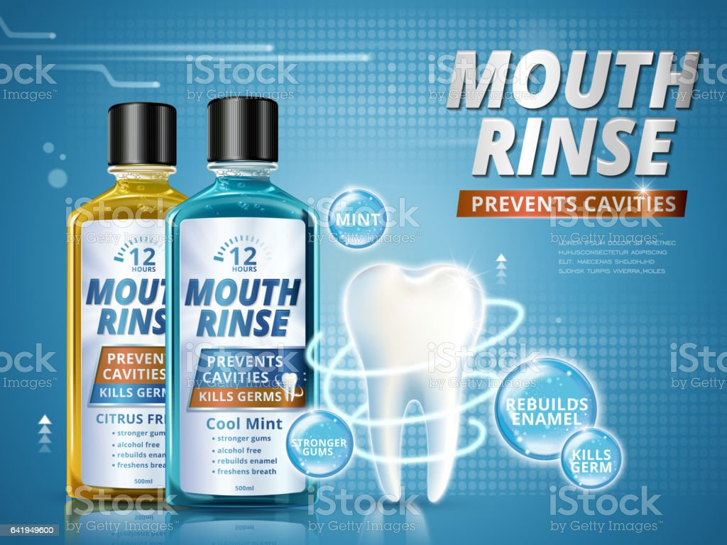 Mouth rinse ads vector art illustration
