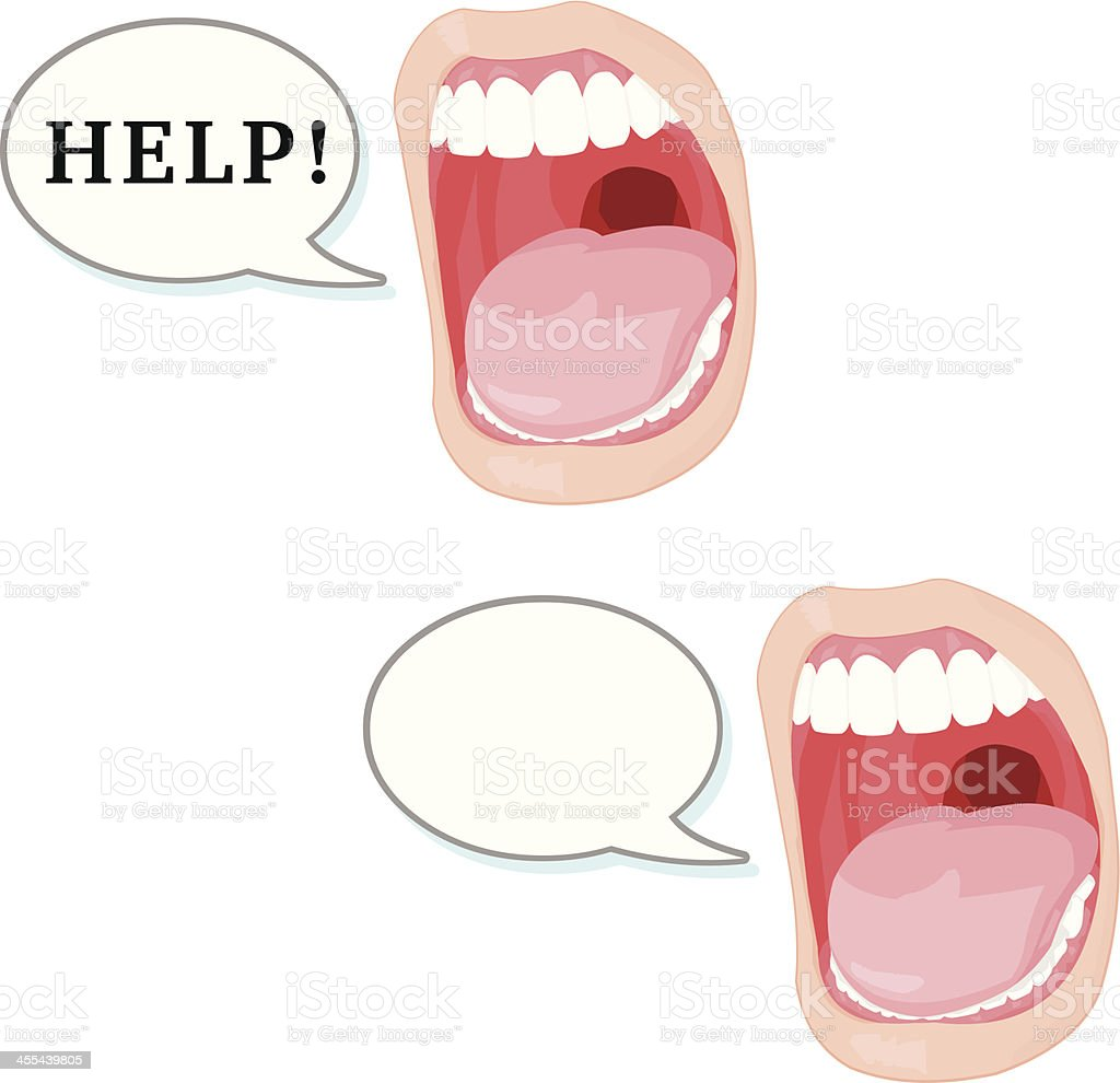 Mouth Shouting for help vector art illustration