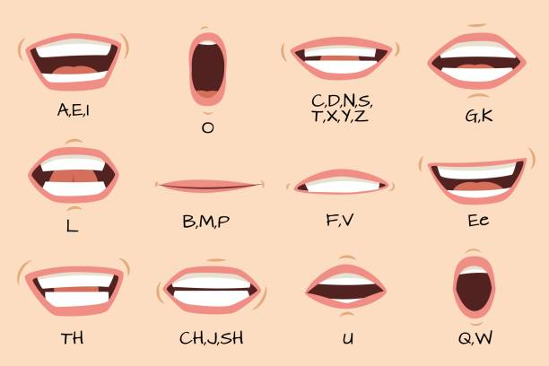 illustrazioni stock, clip art, cartoni animati e icone di tendenza di mouth sync. talking mouths lips for cartoon character animation and english pronunciation signs. vector set - personaggio fantastico
