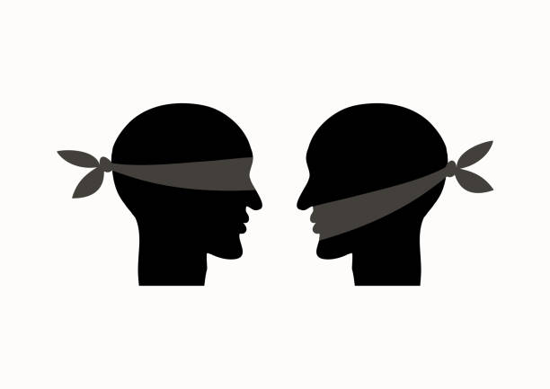 mouth tied, blindfolded. misunderstanding due to communication problems. icon prohibition. vector illustration - communication problems stock illustrations, clip art, cartoons, & icons