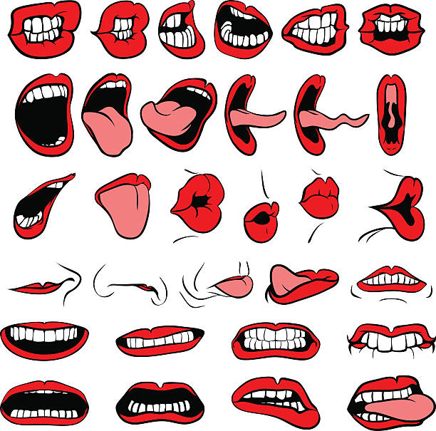 stockillustraties, clipart, cartoons en iconen met big mouth - mensentong