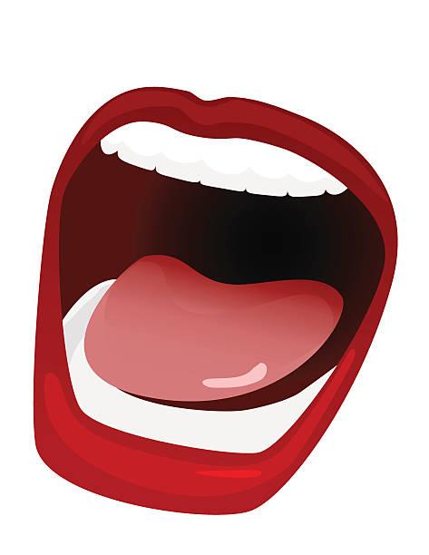illustrazioni stock, clip art, cartoni animati e icone di tendenza di bocca larga aperta - smile woman open mouth