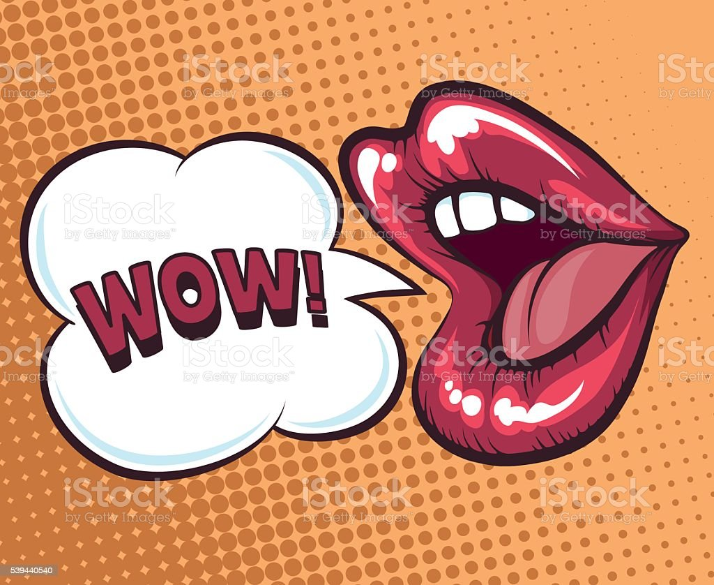 Mouth with speach bubble vector art illustration