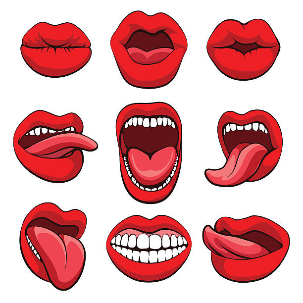 stockillustraties, clipart, cartoons en iconen met mouths expressions set - mensentong