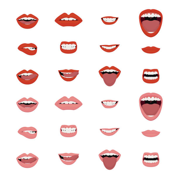mouths vector set. mouths icon set. vector. - smiling stock illustrations