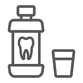 Mouthwash bottle line icon, stomatology and dental, care sign vector graphics, a linear pattern on a white background, eps 10.