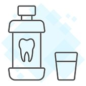 Mouthwash bottle thin line icon, stomatology and dental, care sign vector graphics, a linear pattern on a white background, eps 10.