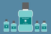 dental cartoon vector, different bottle of mouthwash with a tooth on label isolated background. flat style