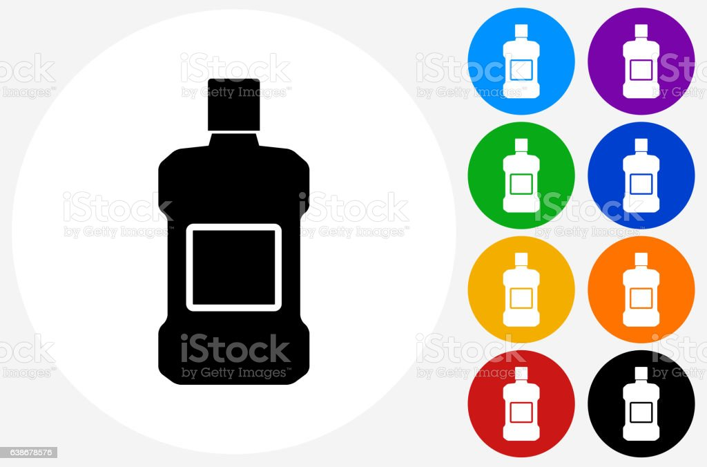 Mouthwash Icon on Flat Color Circle Buttons vector art illustration