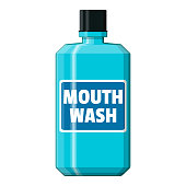 Mouthwash plastic bottle. Mint liquid for rinsing mouth. Oralcare equipment. Vector illustration in flat style
