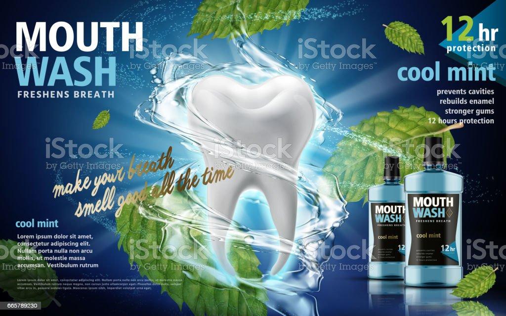 mouthwash product ad vector art illustration