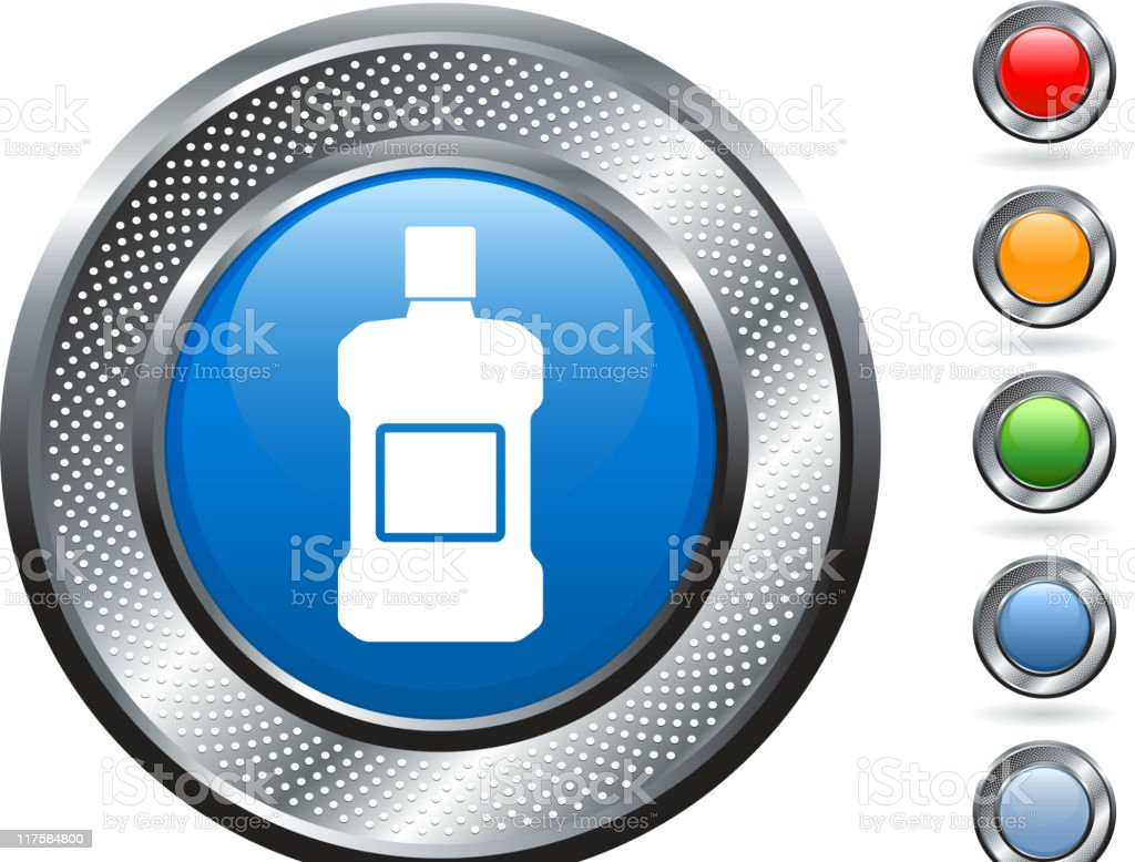 mouthwash royalty free vector art on metallic button vector art illustration