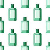 Mouthwash seamless pattern. Mouthwash plastic bottle in flat style backdrop on white background. Vector illustration.