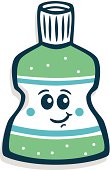 A cartoon bottle of mouthwash smiling.