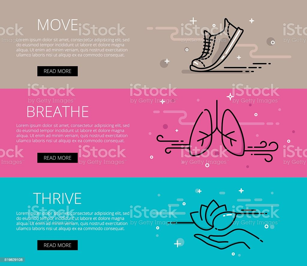 Move. Breathe. Thrive. Line vector web banners set vector art illustration