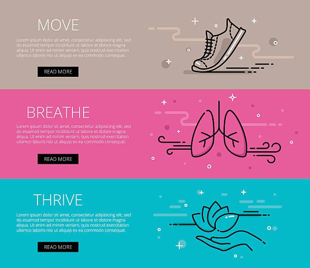 Move. Breathe. Thrive. Line vector web banners set vector art illustration