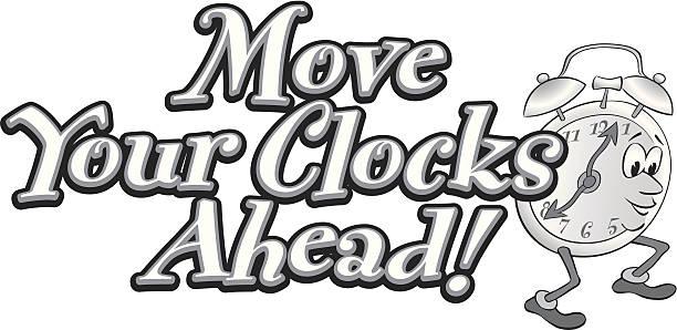 move clocks heading - spring forward stock illustrations, clip art, cartoons, & icons