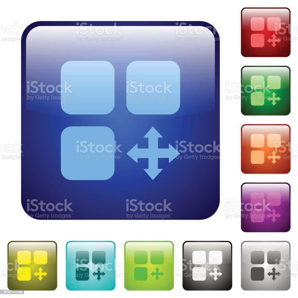 Move component color square buttons 免版稅 move component color square buttons 向量插圖及更多 圓形 圖片