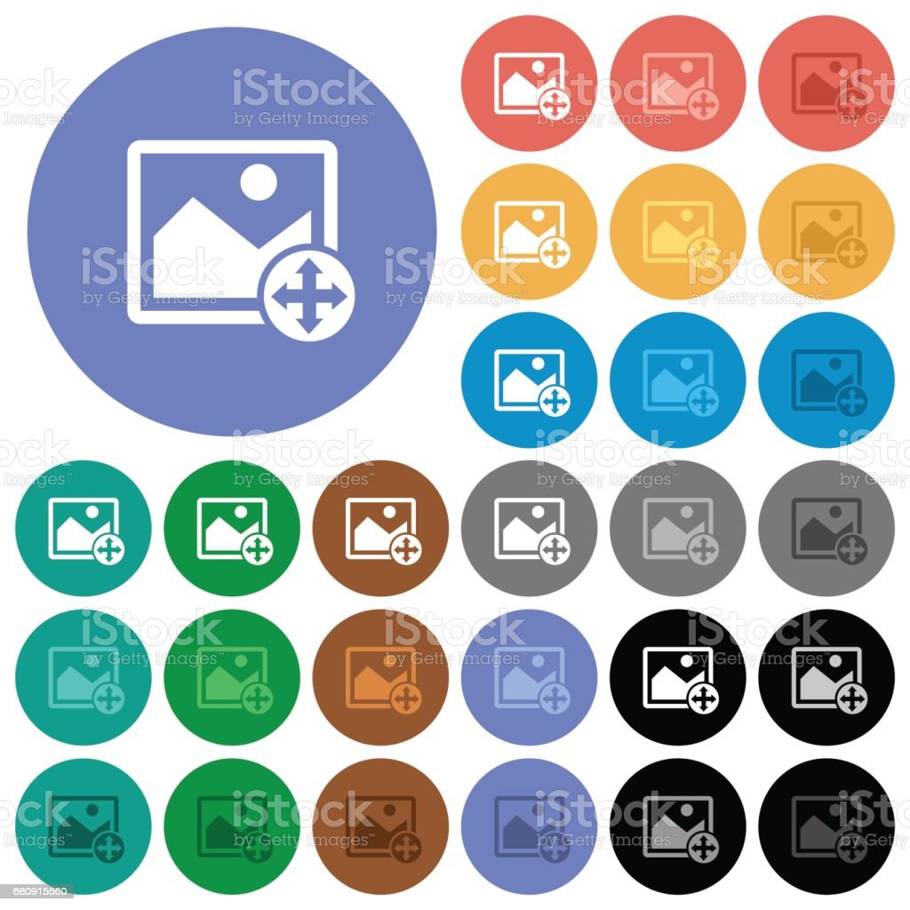Move image round flat multi colored icons royalty-free move image round flat multi colored icons stock vector art & more images of arrow symbol