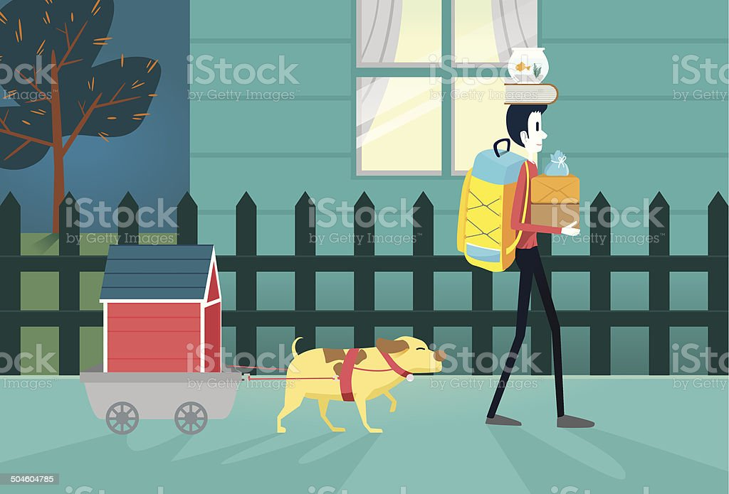 Move residence vector art illustration