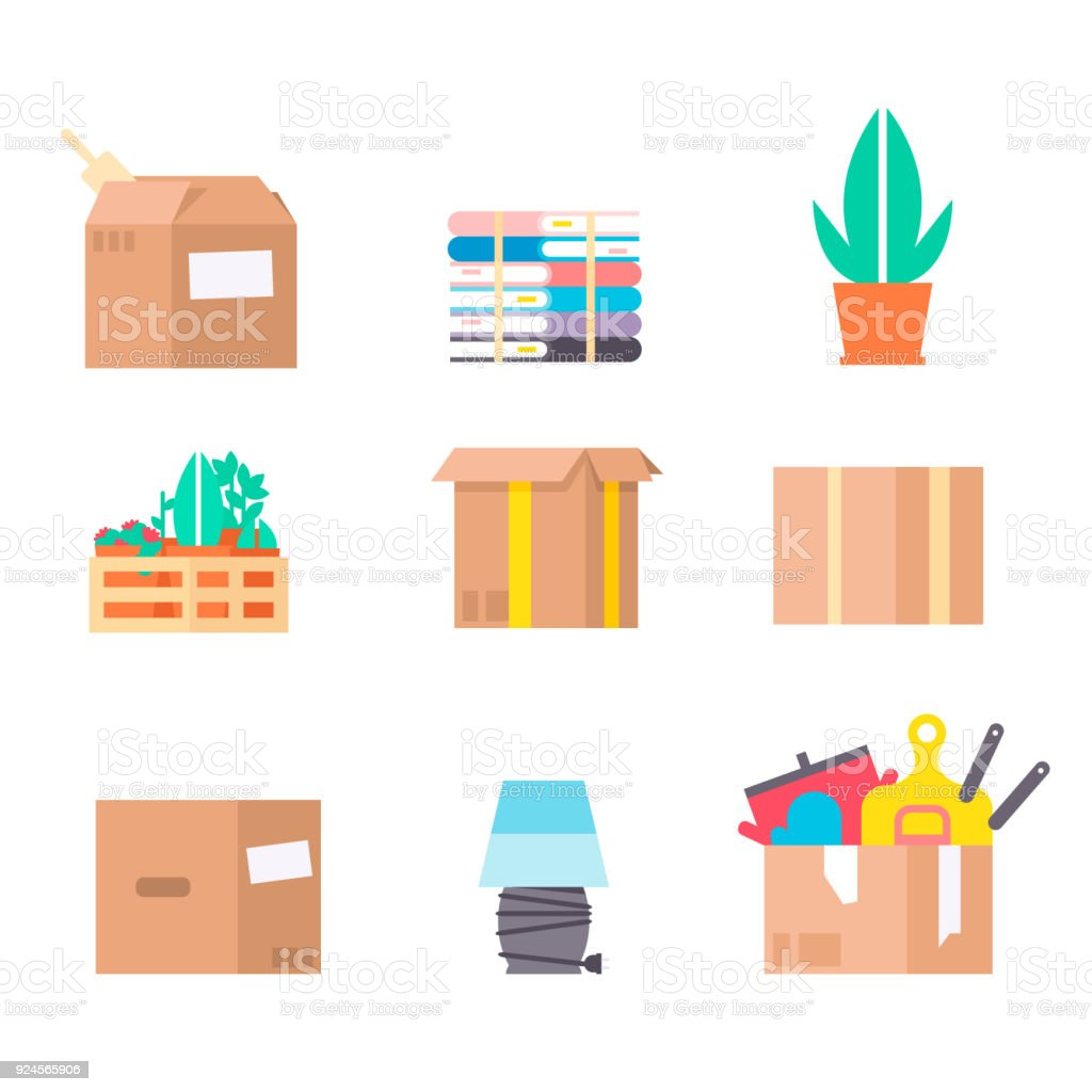 Move service box full vector illustration craft box pack isolated on background. New house relocation transportation package cargo service vector art illustration