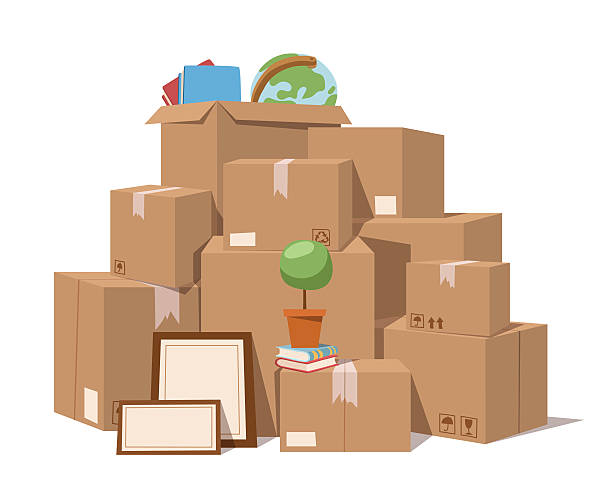 move-service box, vektor-illustration - umzugskartons stock-grafiken, -clipart, -cartoons und -symbole